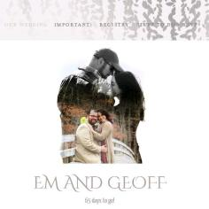 Our wedding website, using the same image we used on our invitations.